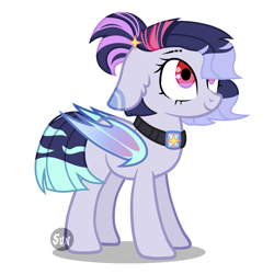 Size: 2449x2449 | Tagged: safe, artist:lazuli0209, oc, oc only, bat pony, pony, bat pony oc, bat wings, collar, looking up, simple background, smiling, solo, white background, wings