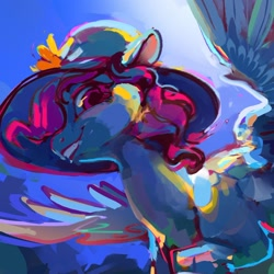 Size: 1312x1311 | Tagged: safe, artist:alumx, princess celestia, pony, female, flying, hat, mare, smiling, solo