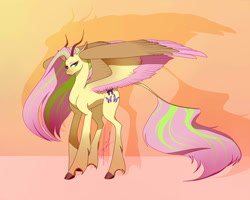Size: 2500x2000   Tagged: safe, artist:aggressivetea, fluttershy, pegasus, pony, female, horns, large wings, redesign, signature, solo, spread wings, two toned mane, wings
