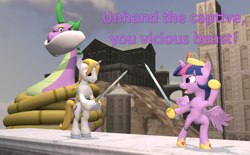Size: 1746x1080 | Tagged: safe, artist:red4567, prince blueblood, spike, twilight sparkle, alicorn, pony, 3d, atg 2020, big crown thingy, bondage, bound and gagged, element of magic, fairy tale, fight, gag, jewelry, newbie artist training grounds, regalia, role reversal, source filmmaker, spikezilla, sword, tied up, twilight sparkle (alicorn), weapon