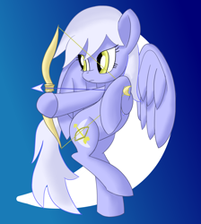 Size: 1710x1908   Tagged: safe, artist:notadeliciouspotato, pegasus, pony, arrow, artemis (greek mythology), atg 2020, bipedal, bow (weapon), bow and arrow, crescent moon, female, gradient background, mare, moon, newbie artist training grounds, ponified, raised leg, rule 63, solo, spread wings, weapon, wings