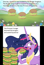Size: 952x1428 | Tagged: safe, artist:atariboy2600, artist:sir-teutonic-knight, edit, twilight sparkle, alicorn, pony, the last problem, burger, cloud, eating, flower, food, gameloft, hay burger, herbivore, outdoors, princess twilight 2.0, rainbow, resource, that pony sure does love burgers, this will end in colic, twilight burgkle, twilight sparkle (alicorn)