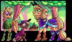 Size: 1753x1039 | Tagged: safe, artist:spuds-mcfrenzy, applejack, trenderhoof, oc, oc:ghost apple, pony, clothes, colt, forest, hat, male, offspring, parent:applejack, parent:trenderhoof, parents:trenderjack