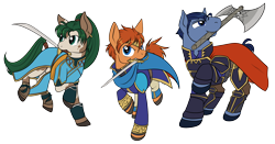 Size: 2000x1050 | Tagged: safe, artist:housho, earth pony, pony, armor, axe, cape, clothes, eliwood, female, fire emblem, fire emblem: the blazing blade, hector, lyn, lyndis, male, mare, ponified, raised hoof, simple background, stallion, sword, transparent background, weapon