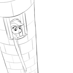 Size: 2000x2000   Tagged: safe, artist:redquoz, rainbow dash, pegasus, pony, atg 2020, fairy tail, female, imprisoned, monochrome, newbie artist training grounds, perspective, rapunzel, simple background, sketch, solo, white background