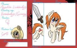 Size: 900x563 | Tagged: safe, artist:askponybrandenburg, pegasus, pony, blushing, brandenburg, bust, female, hetalia, mare, ponified, raised hoof, reference sheet, sword, weapon