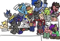 Size: 1116x768   Tagged: safe, artist:arrwulf, oc, oc only, oc:echo, bat pony, dragon, human, hyena, pony, wolf, american football, bat pony oc, bat wings, digital art, football, furry, furry oc, group, sports, super bowl, wings