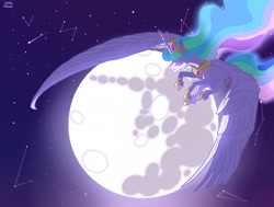 Size: 2361x1786 | Tagged: safe, artist:luna dave, princess celestia, alicorn, constellation, crown, crying, eyes closed, female, flying, jewelry, large wings, mare, mare in the moon, moon, realistic horse legs, realistic wings, regalia, stars, unshorn fetlocks, wing fluff, wings