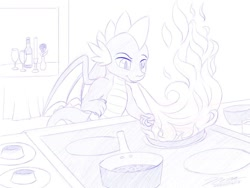 Size: 1024x768 | Tagged: safe, artist:novaintellus, spike, dragon, atg 2020, candle, cooking, dragonfire, flower, frying pan, glass, monochrome, newbie artist training grounds, rose, solo, stove, wine bottle, wine glass, winged spike