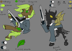 Size: 3508x2480 | Tagged: safe, artist:smol potat, oc, oc only, oc:hoofston, changeling, earth pony, pony, fallout equestria, brown coat, changeling oc, cheeselegs, clothes, cutie mark, disguise, disguised changeling, gangster, green eyes, green mane, gun, male, mobster, reference sheet, shotgun, solo, spread wings, stallion, suit, two toned mane, weapon, wings, yellow changeling