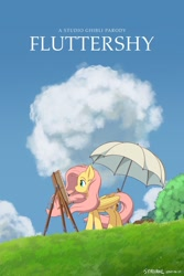 Size: 1280x1920 | Tagged: safe, artist:symbianl, fluttershy, pegasus, pony, cloud, crossover, easel, female, folded wings, looking at something, mare, mouth hold, movie poster, outdoors, paintbrush, parody, poster parody, profile, solo, standing, studio ghibli, the wind rises, umbrella, windswept mane, wings