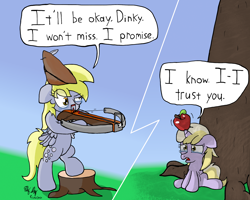 Size: 2000x1600 | Tagged: safe, artist:ebbysharp, derpy hooves, dinky hooves, pegasus, pony, unicorn, apple, atg 2020, crossbow, duo, female, filly, food, mare, newbie artist training grounds, speech bubble, teary eyes, this will end in death, this will end in tears, this will end in tears and/or death, this will not end well, tree, tree stump, william tell