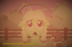 Size: 720x468 | Tagged: safe, granny smith, winona, earth pony, pony, sepia, somewhere over the rainbow, the wizard of oz, young granny smith, younger