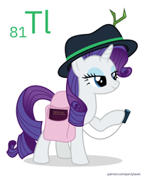 Size: 6400x8000 | Tagged: safe, artist:parclytaxel, rarity, pony, unicorn, series:joycall6's periodic table, .svg available, absurd resolution, agatha christie, bag, book, chemistry, dexterous hooves, fedora, female, hat, hoof hold, lidded eyes, mare, periodic table, pun, saddle bag, scintillator, simple background, solo, thallium, twig, vector, visual pun, white background