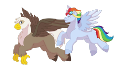Size: 1280x732 | Tagged: safe, artist:itstechtock, oc, oc only, oc:high glide, oc:spectrum rush, griffon, hippogriff, hybrid, pony, flying, goggles, interspecies offspring, male, offspring, parent:dumbbell, parent:gilda, parent:rainbow dash, parent:soarin', parents:gildabell, parents:soarindash, simple background, stallion, transparent background