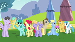 Size: 2000x1125 | Tagged: safe, screencap, cerulean skies, cloud kicker, crescent pony, lightning bolt, mane moon, merry may, rainbow swoop, spectrum, spring melody, sprinkle medley, strawberry sunrise, sunshower raindrops, warm front, white lightning, pegasus, pony, hurricane fluttershy, background pony, crowd, eyes closed, female, male, mare, raised hoof, smiling, stallion