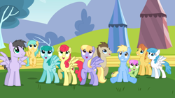 Size: 2000x1125 | Tagged: safe, screencap, cerulean skies, cloud kicker, crescent pony, lightning bolt, mane moon, merry may, rainbow swoop, spectrum, spring melody, sprinkle medley, strawberry sunrise, sunshower raindrops, warm front, white lightning, pegasus, pony, hurricane fluttershy, background pony, crowd, female, looking up, male, mare, smiling, stallion