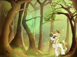 Size: 2000x1470 | Tagged: safe, artist:andaluce, oc, oc only, oc:chamomile dreams, earth pony, pony, blank flank, female, forest, mare, scenery, solo, tree