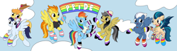 Size: 8744x2547 | Tagged: safe, artist:appleneedle, artist:ichiban-iceychan1517, color edit, edit, braeburn, daring do, indigo zap, night glider, rainbow dash, soarin', spitfire, bat pony, earth pony, pegasus, pony, asexual, asexual pride flag, bisexual pride flag, bottomless, choker, clothes, cloud, collaboration, colored, cowboy hat, daringdash, daringdashfire, daringfire, ear piercing, earring, equestria girls ponified, eyebrow piercing, fangs, female, flying, gay, gay pride flag, gender headcanon, grin, hat, headcanon, hoodie, hoof hold, indiglider, jewelry, leg warmers, lesbian, lesbian pride flag, male, mare, mouth hold, necklace, nonbinary, nonbinary pride flag, nose piercing, open mouth, pansexual, pansexual pride flag, partial nudity, piercing, ponified, pride, pride flag, pride month, pride ponies, raised hoof, raised leg, sexuality headcanon, shipping, shirt, sky, smiling, soarburn, socks, stallion, striped socks, sweater, t-shirt, tattoo, trans female, transgender, transgender pride flag, wall of tags, wristband