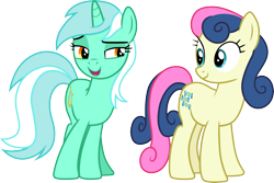 Size: 4478x3000 | Tagged: safe, artist:cloudyglow, artist:parclytaxel, bon bon, lyra heartstrings, sweetie drops, earth pony, pony, unicorn, slice of life (episode), .ai available, absurd resolution, adorabon, cute, female, looking at each other, lyrabetes, mare, simple background, smiling, transparent background, vector