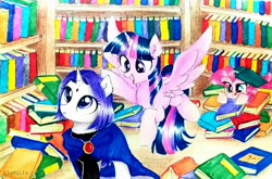 Size: 3450x2283 | Tagged: safe, artist:liaaqila, pinkie pie, twilight sparkle, alicorn, earth pony, pony, unicorn, amazed, book, bookshelf, excited, hiding, hunting, library, ponified, raven (teen titans), teen titans, that pony sure does love books, tongue out, twilight sparkle (alicorn)