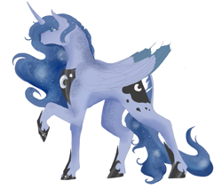 Size: 2693x2296 | Tagged: safe, artist:t3ssrina, princess luna, dappled, ethereal mane, galaxy mane, jewelry, regalia, solo
