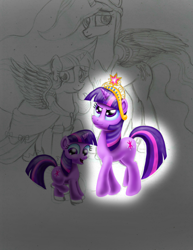 Size: 2550x3300 | Tagged: safe, artist:jac59col, twilight sparkle, alicorn, the last problem, age progression, big crown thingy, clothes, coronation dress, dress, element of magic, female, filly, filly twilight sparkle, jewelry, multeity, princess twilight 2.0, regalia, sparkle sparkle sparkle, time paradox, twilight sparkle (alicorn), wip, younger