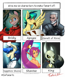 Size: 1697x2000 | Tagged: safe, artist:twotail813, sapphire shores, oc, oc:apogee, anthro, demon, earth pony, genie, human, mouse, pegasus, pony, six fanarts, anthro with ponies, bust, cloak, clothes, collar, cookie, crossover, don bluth, ear piercing, earring, elf ears, eye scar, female, filly, food, geralt of rivia, jewelry, king (the owl house), looking back, male, mare, mouth hold, mrs. brisby, open mouth, partial nudity, pegasus oc, piercing, scar, shantae, shantae (character), skull, smiling, the owl house, the secret of nimh, the witcher, topless, tray, wings