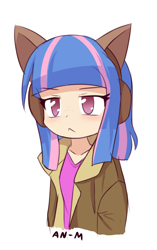 Size: 952x1515 | Tagged: safe, artist:an-m, wind sprint, human, anime, cat ears, clothes, cropped, earmuffs, explicit source, female, frown, headband, humanized, jacket, raised eyebrow, simple background, solo, white background