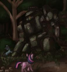 Size: 1480x1600 | Tagged: safe, artist:t72b, derpibooru exclusive, twilight sparkle, alicorn, earth pony, pony, abandoned, atg 2020, bag, battletech, centurion (battletech), damaged, female, forest, mare, mech, mecha, mechwarrior, newbie artist training grounds, overgrown, saddle bag, story in the comments, twilight sparkle (alicorn)
