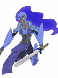 Size: 1936x2592 | Tagged: safe, artist:linda0808, nightmare moon, human, armor, humanized, solo, sword, weapon