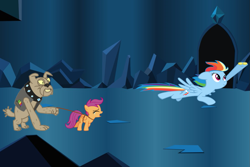 Size: 1095x730 | Tagged: safe, editor:scootabuser, rainbow dash, scootaloo, diamond dog, pegasus, pony, abandoned, betrayed, female, filly, leash, rainbow douche, scootalone