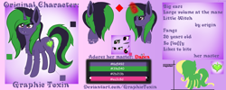 Size: 10000x4000 | Tagged: safe, alternate version, artist:graphictoxin, fluttershy, oc, oc:daren, oc:graphic toxin, pegasus, pony, unicorn, absurd resolution, cute, eyes closed, fangs, fluffy, it's a trap, magic, magic aura, male, profile, reference, reference sheet, simple background, text, wings
