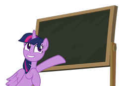 Size: 4380x3057 | Tagged: safe, alternate version, artist:sollace, derpibooru exclusive, twilight sparkle, alicorn, pony, the hooffields and mccolts, .svg available, chalkboard, cute, female, looking back, mare, open mouth, pointing, simple background, smiling, solo, template, transparent background, twiabetes, twilight sparkle (alicorn), vector