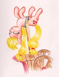 Size: 961x1251 | Tagged: safe, artist:wolfinka84, applejack, earth pony, pony, applebuck season, atg 2020, cart, female, mare, newbie artist training grounds, silly, silly pony, sleeping, solo, stubborn, tired, traditional art, who's a silly pony