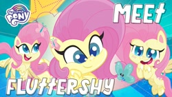 Size: 1280x720 | Tagged: safe, part of a set, fluttershy, pegasus, pony, my little pony: pony life, multeity, my little pony logo, solo, youtube link, youtube thumbnail
