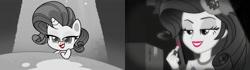 Size: 1600x450 | Tagged: safe, edit, screencap, rarity, pony, unicorn, equestria girls, equestria girls series, my little pony: pony life, princess probz, rarity investigates: the case of the bedazzled boot, spoiler:pony life s01e01, callback, comparison, female, lipstick, mare, monochrome, neo noir, noir, partial color, rarity investigates (eqg): trixie