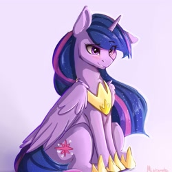 Size: 4000x4000   Tagged: safe, artist:miokomata, twilight sparkle, alicorn, pony, the last problem, blushing, clothes, cute, female, floppy ears, folded wings, grin, hoof shoes, mare, peytral, pink background, princess twilight 2.0, shoes, signature, simple background, sitting, smiling, solo, twiabetes, twilight sparkle (alicorn), wings