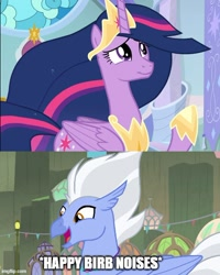 Size: 500x625 | Tagged: safe, edit, edited screencap, screencap, sky beak, twilight sparkle, alicorn, classical hippogriff, hippogriff, surf and/or turf, the last problem, birb, caption, comic, ethereal mane, female, happy, horseshoes, image macro, jewelry, male, meme, necklace, open mouth, princess twilight 2.0, raised hoof, screencap comic, shipping, starry mane, straight, text, tiara, twibeak, twilight sparkle (alicorn)