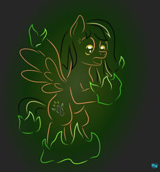 Size: 606x650 | Tagged: safe, artist:quint-t-w, oc, oc only, pegasus, pony, fanfic:end of ponies, atg 2020, dragonfire, female, fire, gradient background, harmony, minimalist, modern art, newbie artist training grounds, open mouth, rearing, solo, two toned mane