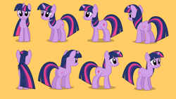 Size: 1280x720 | Tagged: safe, twilight sparkle, pony, unicorn, journey of the spark, butt, female, front view, horn, looking at you, mare, multeity, orange background, plot, pose, rear view, reference sheet, shadow, show accurate, side view, simple background, smiling, solo, turnaround, unicorn twilight