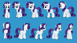 Size: 1280x720 | Tagged: safe, rarity, pony, unicorn, journey of the spark, 3/4 view, blue background, butt, female, front view, horn, looking at you, mare, multeity, palindrome get, plot, pose, rear view, reference sheet, shadow, show accurate, side view, simple background, smiling, solo, turnaround
