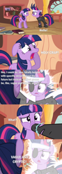Size: 2000x5623 | Tagged: safe, edit, edited screencap, screencap, twilight sparkle, pony, unicorn, it's about time, batman v superman: dawn of justice, book, clothes, comic, cut, electricity, eyepatch, female, future twilight, golden oaks library, headband, hishe, hoof in mouth, how it should have ended, mare, messy mane, open mouth, quote, reference, screaming, screencap comic, solid sparkle, text, torn clothes, unicorn twilight