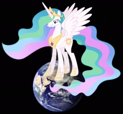 Size: 1920x1774 | Tagged: safe, artist:martinnus1, artist:princesslunayay, princess celestia, alicorn, pony, deviantart watermark, earth, female, giant pony, giantess, giantlestia, looking down, macro, mare, mega celestia, mega giant, obtrusive watermark, planet, pony bigger than a planet, simple background, smug, solo, space, tall alicorn, tangible heavenly object, this will end in death, watermark