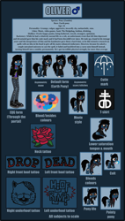 Size: 7012x12316 | Tagged: safe, artist:lightningbolt, derpibooru exclusive, earth pony, pony, undead, zombie, zombie pony, equestria girls, my little pony: pony life, absurd resolution, bags under eyes, bleeding, blood, blood stains, bloodshot eyes, bone, bring me the horizon, clothes, colored pupils, drop dead clothing, equestria girls-ified, fangs, frown, glasgow smile, grumpy, jacket, jeans, long sleeves, looking at you, male, male symbol, mouth hold, movie accurate, nosebleed, oliver sykes, pants, plushie, pointy ponies, ponified, rainbow blood, raised hoof, reference sheet, ripped jeans, sad, scar, shirt, shoes, sitting, slit eyes, solo, sonic the hedgehog (series), stallion, stitches, t-shirt, tattoo, text, tongue out, torn ear, undershirt, unshorn fetlocks, vector, younger