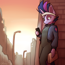 Size: 2000x2000 | Tagged: safe, artist:ohemo, twilight sparkle, anthro, unicorn, it's about time, alternate hairstyle, atg 2020, bandage, catsuit, cellphone, city, clothes, eyepatch, female, future twilight, jacket, mare, newbie artist training grounds, newspaper, phone, solo, unicorn twilight