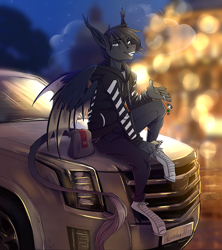 Size: 2252x2540 | Tagged: safe, artist:1an1, oc, oc only, anthro, bat, enderman, plantigrade anthro, bag, cadillac, cadillac escalade, car, car keys, clothes, creeper, high res, hoodie, leonine tail, mcdonald's, minecraft, off-white, pants, sitting, solo, vape, vehicle