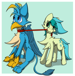 Size: 996x1010   Tagged: safe, artist:starrypallet, gallus, sandbar, earth pony, griffon, pony, collar, cute, gallabetes, leash, pet play, sandabetes, simple background, tsundere, wings