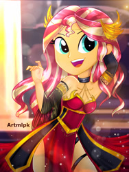 Size: 1800x2400 | Tagged: safe, artist:artmlpk, sunset shimmer, equestria girls, adorable face, adorasexy, adorkable, alternate hairstyle, bare chest, bare shoulders, beautiful, choker, clothes, crown, cute, dork, dress, emperor, female, gloves, gold, hand on head, jewelry, looking at you, open mouth, queen, red dress, regalia, ruler, sexy, shimmerbetes, side slit, smiling, smiling at you, socks, solo, thigh highs, total sideslit, watermark
