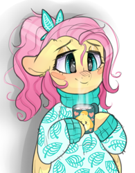 Size: 444x570   Tagged: safe, artist:h0rsefeathers, fluttershy, pegasus, semi-anthro, alternate hairstyle, animal crossing, chocolate, clothes, crossover, cute, female, floppy ears, food, hoof hold, hot chocolate, isabelle, lidded eyes, mare, marshmallow, mug, ponytail, shyabetes, smiling, solo, sweater, sweatershy, turtleneck